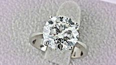 4.01 ct   round diamond ring 18 kt gold - size 6