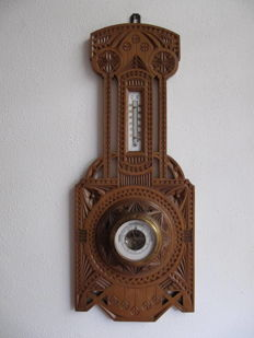 Art Nouveau carved wooden barometer with thermometer