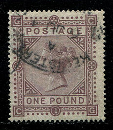 Great Britain 1867/1883 – Queen Victoria – £1 brown-lilac watermark Anchor – Stanley Gibbons 136