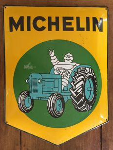 Michelin tractor - Enamelled plate in fat enamel - circa 1960