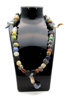 Medieval Viking period Necklace with Coloured Glass Beads - 460 mm
