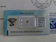 White natural diamond, 0.31 ct, brilliant cut, colour D, clarity VVS2
