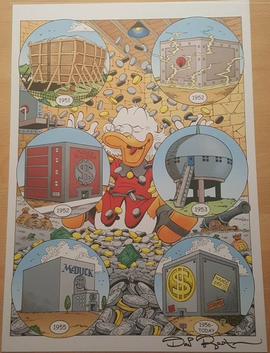 Hand-signed print by Don Rosa. NO RESERVE! - Scrooge McDuck's Money Bin - Losbladig - anders - (2007)