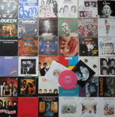 Queen : Lot of 40 singles  38 by Queen + 1 solo single by Brian May and 1 solo single by Freddy Mercury