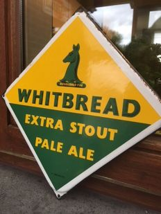 "Old enamelled plate for beer ""WHITEBREAD"" EXTRA STOUT PALE ALE 1950"