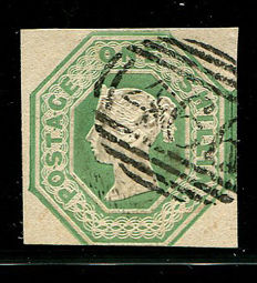 Great Britain 1847/'54 – Queen Victoria – 1 shilling, green embossed, Stanley Gibbons 55