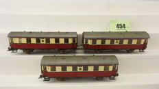 Prefo H0 - Three part set with two axle carriages of the DR in red/cream livery