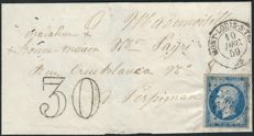 France 1859 - Empire imperforated blue on postage due letter (fraudulent stamp) with complete dossier - Yvert number 14