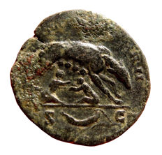 Roman Empire - Antoninus Pius (138 - 161 A.D.), bronze as (7,70 g.  25 mm), minted in Rome. 143-144 A.D. IMPERATOR II. She-wolf and twins.