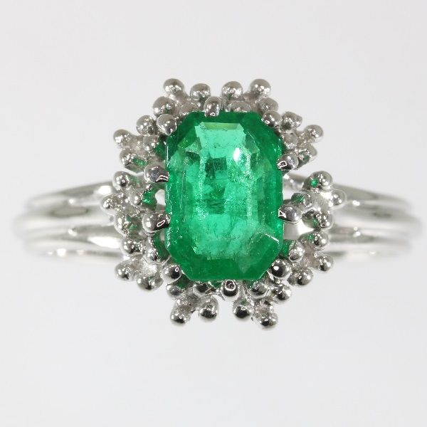 Vintage emerald engagement ring - circa 1950