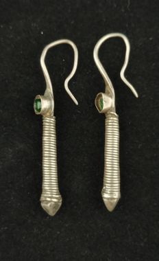 Antique handmade silver earrings - Afghanistan, 20th Century