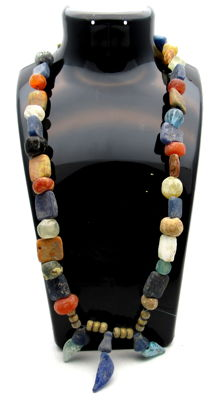 Medieval Viking period Necklace with Coloured Glass Beads - 500 mm