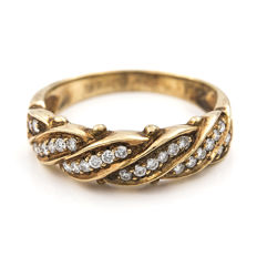 Yellow gold 18 kt (750/1000) - Cocktail ring - Brilliant cut diamonds 0.40 ct - Ring size 14 (Spain)