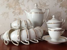 Porcelain coffee service, gilded with fine gold. Bavaria Royal Fettau