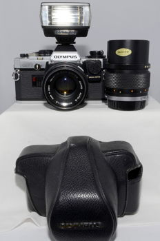 Olympus OM-10 with two lenses