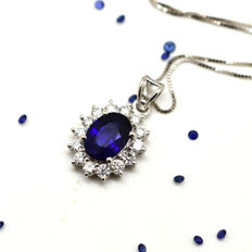 Necklace and pendant with sapphire and brilliant cut diamonds totalling 2.07 ct - Necklace length: 45 cm - No Reserve Price
