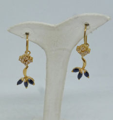K14 yellow gold Ladies earrings with synthetic stones - 30mm
