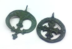 Medieval pendants, with a cross in the center 35x26  28x28 mm
