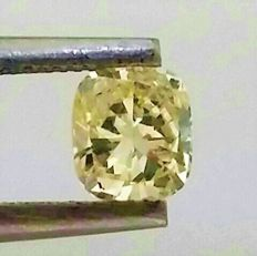 Cushion Cut  - 0.56 carat - Natural Fancy Intense Yellow - VVS1 clarity- Comes With AIG Certificate + Laser Inscription On Girdle