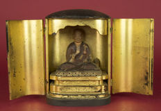 Buddhist family altar/Butsudan with Buddhist Nichiren Shonin monk – Japan – 19th century