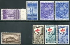 Italian Republic, 1949-1951 - Lot of 4 Complete Series - Sassone No.  600, 621-621, 623-624, 661-663