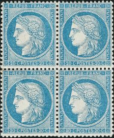 France 1870 - Cérès perforate 20 centimes blue block of 4 - Yvert no. 37