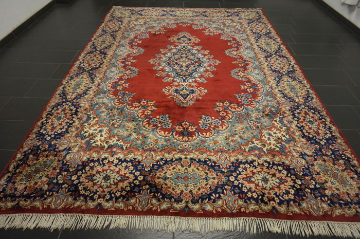 Beautiful semi antique handwoven Persian Oriental carpet Kirman patina 245 × 350 cm made in Iran