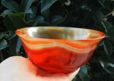 Agate Carnelian Bowl - High Quality - 140 x 140 x 59 mm - 288.3 g