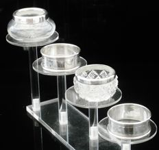 2 Silver & Cut Glass Salt Cellars & a Pair of Silver Napkin Rings, 1902, 1926