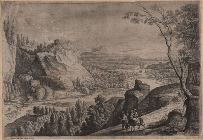 Lucas van Uden (1595 - 1672) - Landscape with the flight into Egypt.