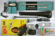 Minox A, Germany 1950s. Miniature spy camera. With many original accessories.