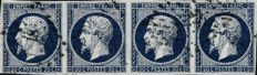 France 1856 - Non-serrated Empire, 20 centimes, dark blue, strip of 4 - Yvert 14Ab