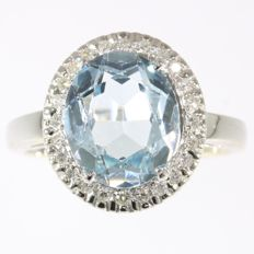 Vintage Fifties diamond and aquamarine gold ring - made in France in circa 1950