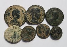 Roman Empire - Roman Empire - 7 bronze coins minted between the 3rd and 4th centuries A.D.