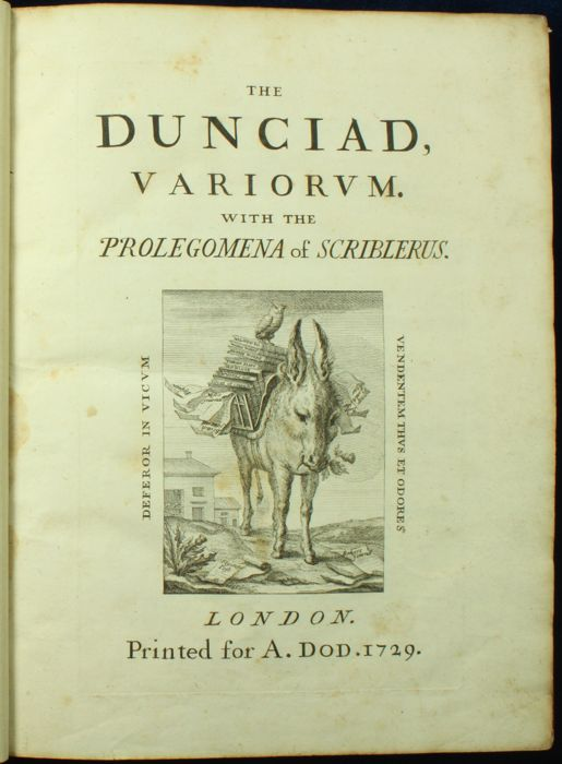 Alexander Pope - The Dunciad Variorum - 1729