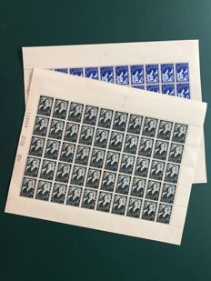 Belgium 1937 - Queen Elisabeth contest in complete sheets of 100 with panel in between and all varieties - OBP 456/457