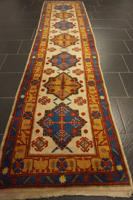 Collector's item antique old hand-knotted oriental carpet Derbent Kazakh Seychour 75 x 300 cm old rug