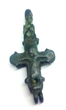 Medieval Bronze reliquary (double cross) pendant with Depiction of Christ  - 55х25 mm