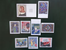 France 1964/1965 - Selection of 9 work of art stamps, non-perforated - Yvert between no. 1413 and 1459a