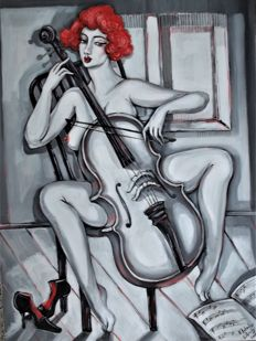 Original; Natia Antadze - Frau mit Cello - 2017