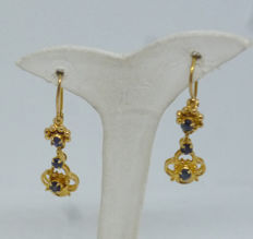 K14 yellow gold Ladies earrings with synthetic stones - 31mm