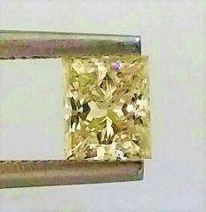 Princess Cut  - 0.71 carat  - Natural Fancy Intense Yellow  - VVS2 clarity  - Natural Diamond - 2 x EX -  None - With AIG Certificate + Laser Inscription On Girdle