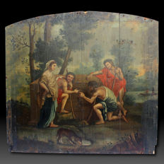 Oil painting on panel representing shepherds from Arcadia, 18th century, Central Italy
