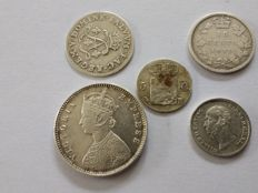 World - Lot of various coins 1692/1885 (5 different coins) - silver