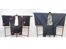 A dragon motif kimono-haori and black maple motif kimono-haori (short hem) - Japan - Mid 20th century