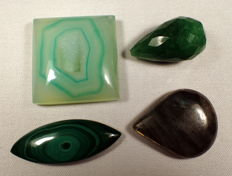 Very beautiful collection of minerals labradorite, emeralds, druse and malachite - 317.50 ct (4)