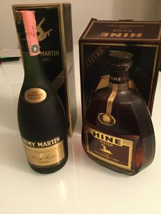Rémy Martin 70 cl and Hine 100 cl - cognac Fine champagne VSOP - Bottled 1980s