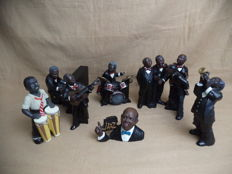 Seven Handpainted Jazz musicians, Signed - Parastone studios - Series name, All That Jazz.