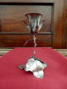 A Sterling Silver Carved Rose Toothpick Holder - Portugal, Porto around 1870