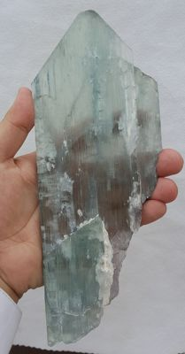 Natural Huge Amazing 3 Termination Green/blue / Pink Kunzite Crystal -23.5x9x1 cm - 612 gm
